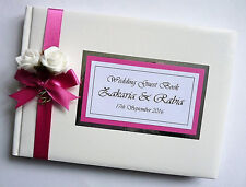 PERSONALISED WEDDING GUEST BOOK WITH ROSES (FUCHSIA) - ANY COLOUR
