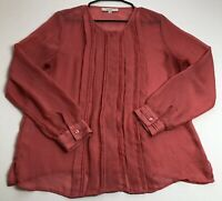 Loft Women's Sheer Long Sleeve Blouse Large L Button Up Pleated Front Career