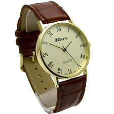 Ravel Mens Classic Quartz Watch Brown Strap Gold Face R0129.12.1