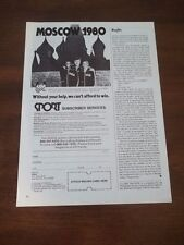 1979 VINTAGE 3/4 PAGE PRINT AD FOR USA 1980 OLYMPICS IN MOSCOW RUSSIA
