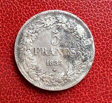 Belgique - Léopold Ier - Très Rare et Jolie Monnaie de 5 Francs 1834  Position A