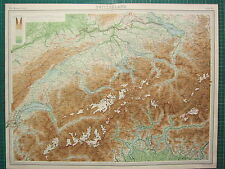 1921 LARGE MAP ~ SWITZERLAND ~ ALPS GENEVA LUZERN BERN