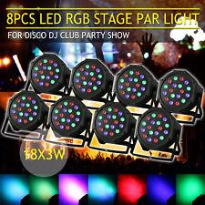 8Pcs Par 18x3W RGB LED Stage Light Uplighting Wash Color DJ Bar Club Party