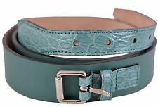 New Gucci Men's Teal Green Alligator and Leather Palladium Buckle Belt 38 95