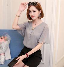 Korean Fashion Summer Women Ladies V Neck Chiffon Shirt Short Sleeve Blouse Tops