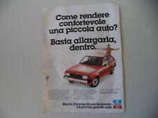 advertising Pubblicità 1978 CHRYSLER SIMCA SUNBEAM