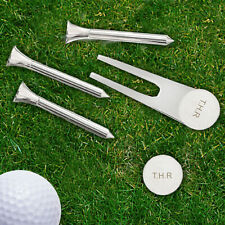 Personalised Engraved Golf Ball Marker and Tee Gift Set