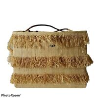 Vintage Callanan Tiered Fringed Raffia Straw Purse Tote Bag