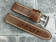 BIG CROCO 24mm LEATHER STRAP Chocolate Brown Watch Band Super Avenger White x1