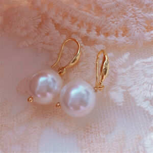 12MM white baroque Shell pearl earrings 18KGP Holiday gifts Cultured Dangle