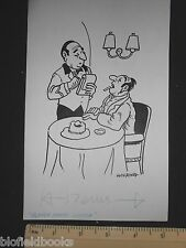 Original Ivan Wilding Farmer in a Restaurant Cartoon (Comic Postcard Artist)