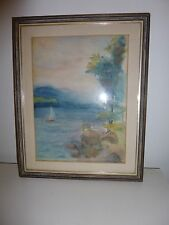Sailboats Lake Front Beach Seascape Nautical Impressionist Watercolor Painting