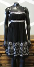 MAGGY LONDON Black Silver Sequin 100% Silk Spaghetti Strap Dress - 4