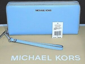 Authentic MICHAEL KORS MK Lt Sky Blue 3/4 zip around Large Leather Wallet NWT.