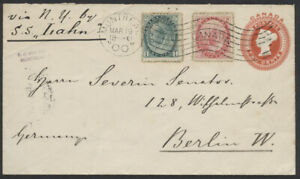 1900 #EN15 2c Victoria PSE Uprated to 5c UPU Rate, Montreal to Germany