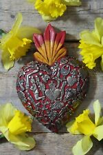 Medium Sz Red Sacred Heart Wood & Milagros Miracle Mexican Folk Art Michoacán