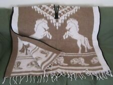 "WESTERN PONCHO REVERSABLE WITH HORSE DESIGNS 41"" X 82"" BROWN"