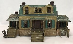 Antique Rock & Graner Original Painted Tin Sheet Metal Two Story Doll House