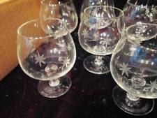 Antique Vintage MCM Starburst Hand Blown Etched JAPAN Brandy Cocktail Glasses 6