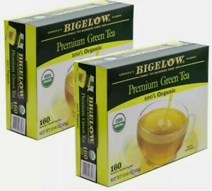 2 boxes Bigelow Premium Green Tea 320 Tea Bags USDA 100% Organic