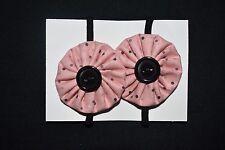 Girls pink and black hair ties - handmade
