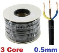 3 Core 0.5mm 3 Amp PVC Flexible Cable 1m 5 100m Round Flex Electrical Wire BLACK