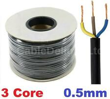 3 Core 0.5mm 3 Amp PVC Flexible Cable 1m 5 100m Round Flex Electrical Wire BLACK