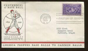 1939 Cooperstown New York Centennial of Baseball Sandlot First Day Cover