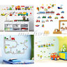 Children Transport Vehicles Cars Wall Stickers Decals Nursery Boys Kids Room HOT