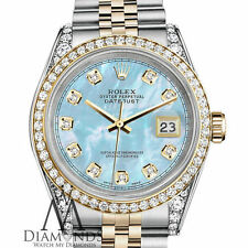Ladies Rolex 26mm Datejust 2 Tone Baby Blue Mother Of Pearl Dial with Diamond