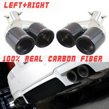 "2X Carbon Muffler Dual Exhaust Pipe Tip Polished Stainless Steel 2.5""In 3.5""Out"
