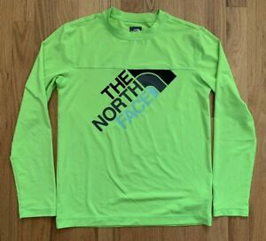 North Face FlashDry Shirt Boys Size M 10 12 EUC Neon Green w/ Logo Classic!