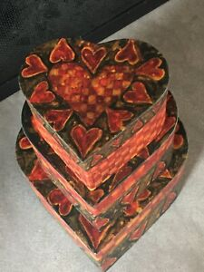 Bob's Boxes R.A. Lang Primitives 3 Nesting Stacking boxes Tossed Hearts