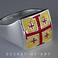 Jerusalén Cross Crusaders anillo plata 925 Sterling con dorado enchapados