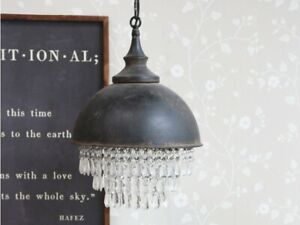Dark Grey Black Industrial Pendant Light Shade with Faux Crystal Chandelier