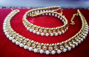 PAIR OF NEW PEARL GOLDEN STUNNING PAYAL ANKLET ANKLE CHAIN INDIAN BOLLYWOOD M-1