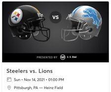 (4) Lions @ Steelers Tickets 11/14/21 1pm Heinz Field 524 Row Z Seats 5,6,7,8