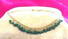 """Emerald bracelet solid 18k gold wire wrap link Roxy Catalina Jewelry 7"""" 18cm"""