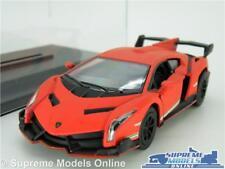 LAMBORGHINI VENENO MODEL CAR 1:36 SCALE RED + DISPLAY CASE SPORTS KINSMART K8