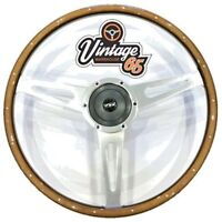 "Vw T2 Camper Bay 17"" Wood Rim Riveted Polished Slotted Steering & Wheel Boss Kit"