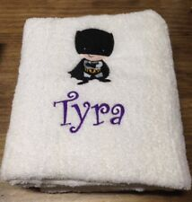 EMBROIDERED BATH  TOWEL  -  BABY BATMAN