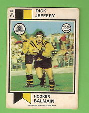 1974  BALMAIN TIGERS  SCANLENS RUGBY LEAGUE CARD #82  DICK JEFFERY