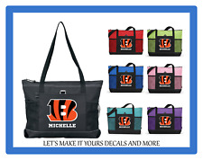 CINCINNATI BENGALS PERSONALIZED NAME TOTE PURSE TRAVEL SPORTS GYM SCHOOL BAG ZIP