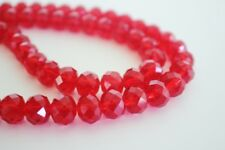 60 pce Red Faceted Crystal Cut Abacus Glass Beads 10mm x 7mm Jewellery Making