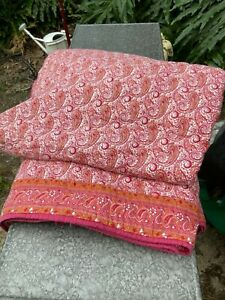 Rare Pottery Barn Queen Paisley Quilt Pink Raspberry Sienna Orange Cotton Fall