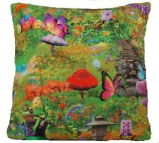 Green Cushion Cover Printed Cotton Fabric Rabbits Frogs Butterflies Mushrooms