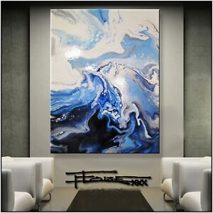 Abstract Painting Modern Canvas Wall Art Large, Framed, Resin, US ELOISExxx