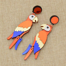 Colorful Parrot Stud Earring Acrylic Handmade Jewelry Charm Pretty Womens