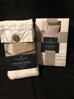 "NEW Fieldcrest KING Size White Hotel Sateen Bed Skirt 15"" Drop 100% Cotton +"