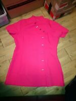 Bright Pink Beauty Therapist Tunic Uniform womens Size 18 Salon Services button